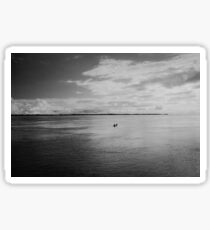 Lonely Boat on Mighty Amazonn River Shot on Film Sticker