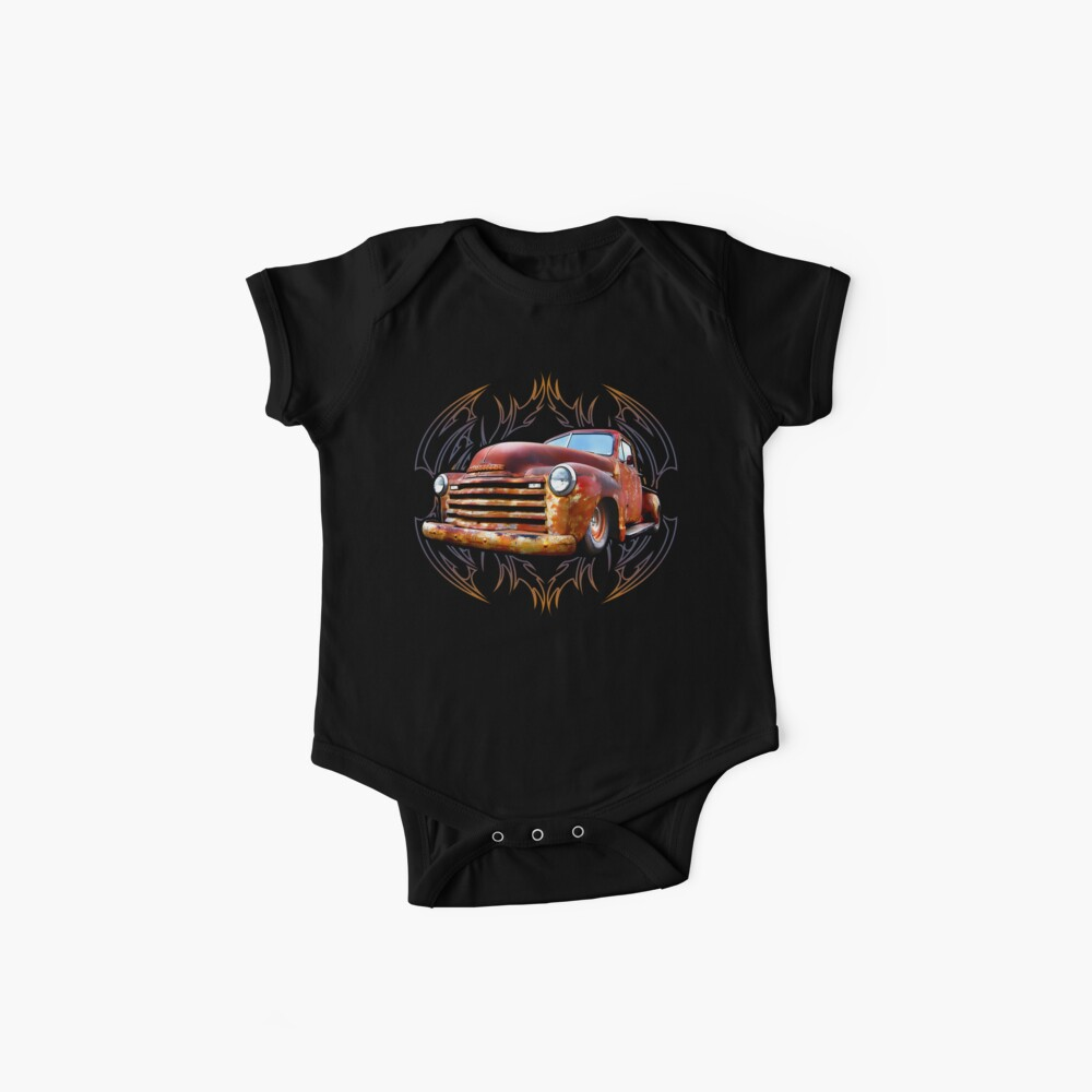 Pinstripe Rust Truck Baby One-Piece