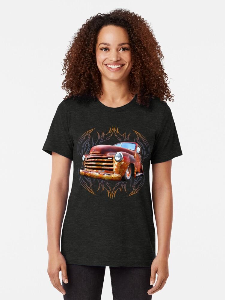 Alternate view of Pinstripe Rust Truck Tri-blend T-Shirt