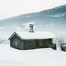 Log Cabin in Scandinavian Winter Landscape by visualspectrum