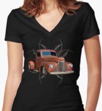 Pinstripe Rust Truck 2 Women's Fitted V-Neck T-Shirt