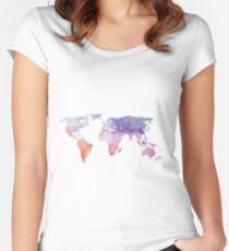 Watercolor World Map Women's Fitted Scoop T-Shirt