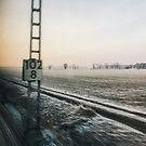 Frosty Winter Landscape Shot Through Train Window by visualspectrum