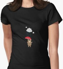 Brown Bear with Umbrella Womens Fitted T-Shirt