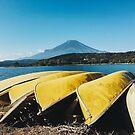 Mount Fuji - Yellow Canoes on Lake Yamanaka Shore (Japan) by visualspectrum