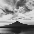 Japan - Lake Kawaguchi With Mount Fuji in Black and White by visualspectrum