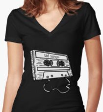Sad songs tape Women's Fitted V-Neck T-Shirt