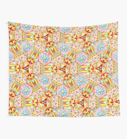 Pink Paisley Hexagons Wall Tapestry