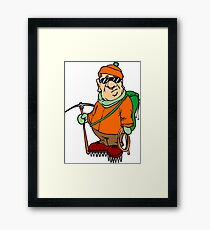 Funny Mountain Ice Climbing Framed Print
