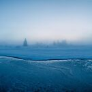 Winter - Moody Panorama Shot of Foggy Morning by Frozen River by visualspectrum