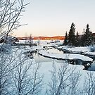 Winter in Norway - Beautiful White River Landscape in Early Morning by visualspectrum