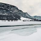 Frozen Lake in Snow-Covered Norwegian Winter Landscape by visualspectrum