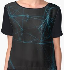 Abstract Blue Lines Resembling Star Constellation on Black Background Women's Chiffon Top
