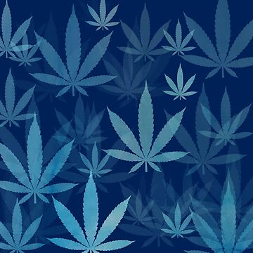 Marijuana Cannabis Weed Pot Dark Blue by MarijuanaTshirt
