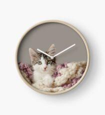 Kitten in Blanket Clock