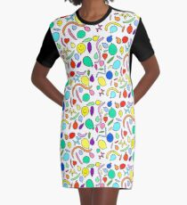 Party Balloons Graphic T-Shirt Dress