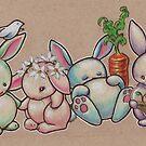 Four Bunnies of Niceities - Peace, Innocence, Plenty & Growth by justteejay