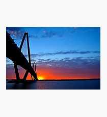 Ravenel Bridge Sunset Over Water Photographic Print