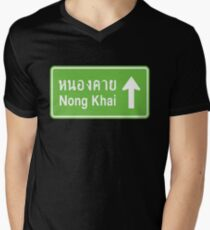 Nong Khai, Isaan, Thailand Ahead ⚠ Thai Traffic Sign ⚠ Mens V-Neck T-Shirt