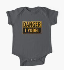 """Funny, """"DANGER, I Yodel"""" Realistic Metal with Rust Sign - yodelling Kids Clothes"""