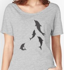Beautiful Dolphin Herd Group Swimming Graphic Women's Relaxed Fit T-Shirt