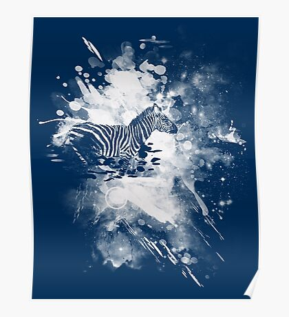 zebra splashed  Poster