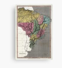 Map of Brazil - 1822 Canvas Print