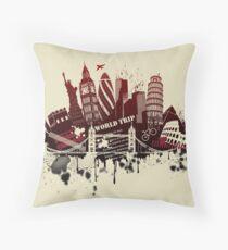 Grunge city figures Throw Pillow