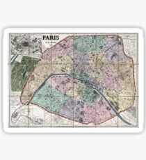 Map of Paris, France - 1878 Sticker