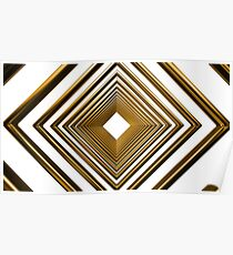 abstract futuristic square gold pattern Poster
