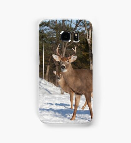 White-tailed deer buck and fawn in the winter snow Samsung Galaxy Case/Skin