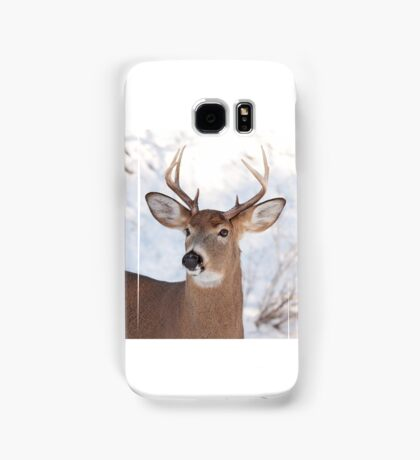 White-tailed deer buck in the winter snow Samsung Galaxy Case/Skin