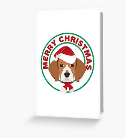 Merry Christmas Beagle Dog Greeting Card