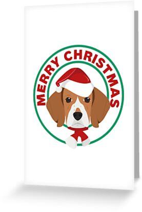Merry Christmas Beagle Dog by CafePretzel