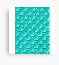 Teal Fish Scale Design  Canvas Print