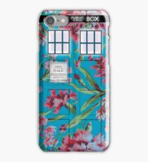 Floral Tardis 1 iPhone Case/Skin