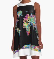 Weltkarte A-Linien Kleid