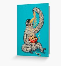 A Sloth Eating Spaghetti Greeting Card