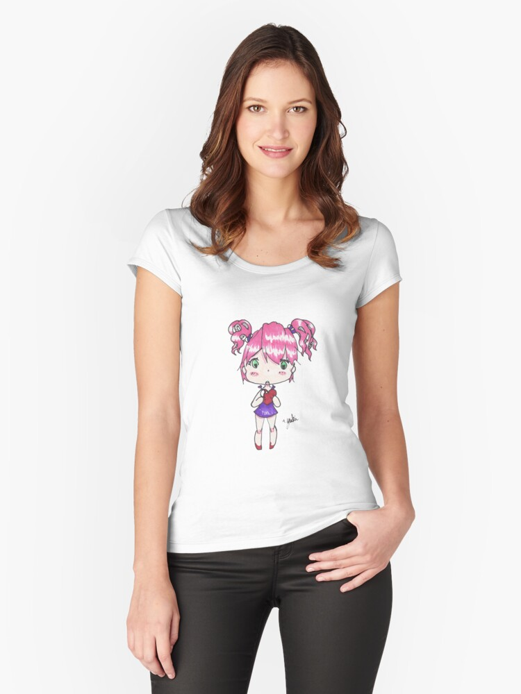 Holding My Heart - Anime style chibi girl Women's Fitted Scoop T-Shirt Front
