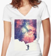 Painting the universe (Colorful Negative Space Art) Fitted V-Neck T-Shirt