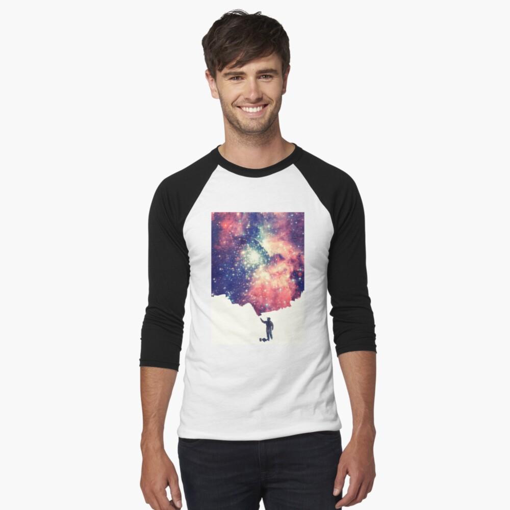 Pintar el universo (arte espacial colorido y negativo) Camiseta ¾ estilo béisbol