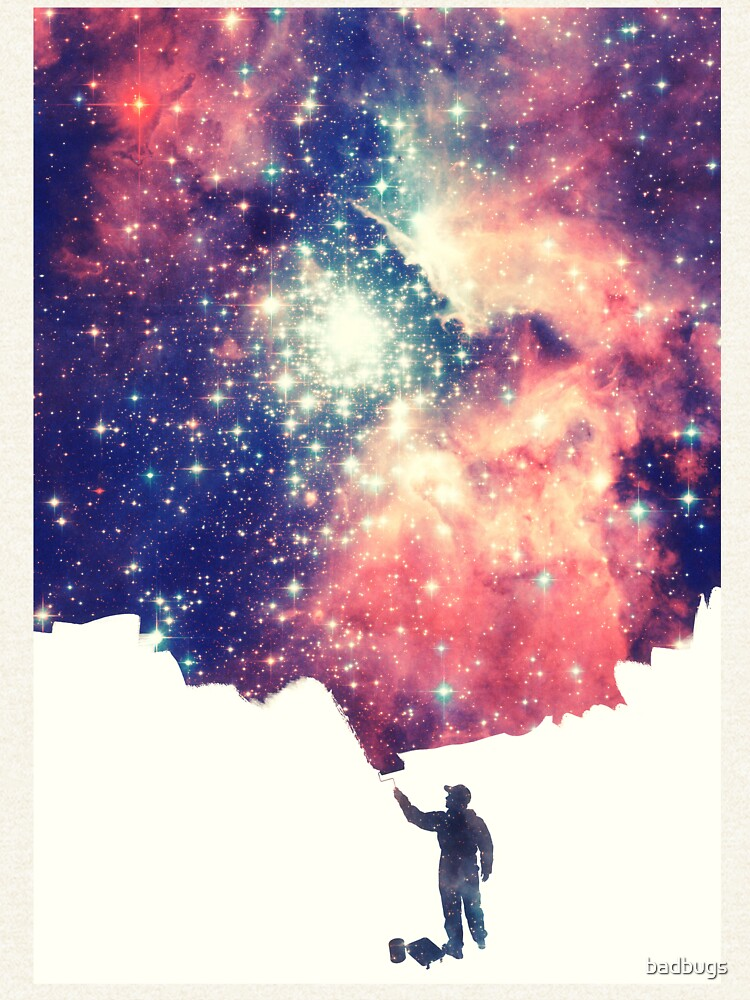 Pintar el universo (arte espacial colorido y negativo) de badbugs