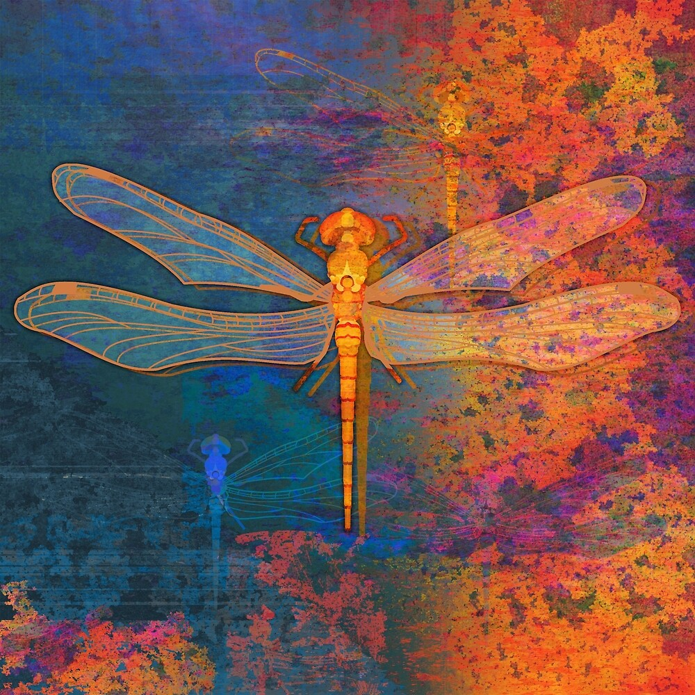 Flaming Dragonfly by evisionarts