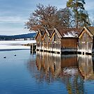 Winter Boathouses on Lake Staffel by Kasia-D