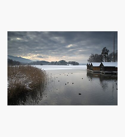 Winter Boathouses Photographic Print