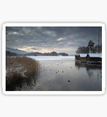 Winter Boathouses Sticker