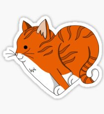 Heart Ginger Cat Sticker
