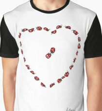 Hello Sweetheart - Little Ladybugs Heart Drawing Graphic T-Shirt