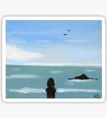 Girl and the Ocean. Original Oil On Canvas Painting  Fine Art Print from Oil On Canvas Painting Landscape Painting Art Oil On Canvas Wall Art Sticker