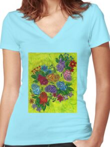 An Explosion of Roses Women's Fitted V-Neck T-Shirt